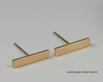 Gold Bar Earrings 14K Minimalist Earrings Solid Gold Earrings Gold Line Earrings Modern 14K Gold Studs