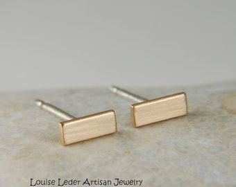 Modern Earrings Gold Bar Earrings 14K Gold Minimal Stud Earrings