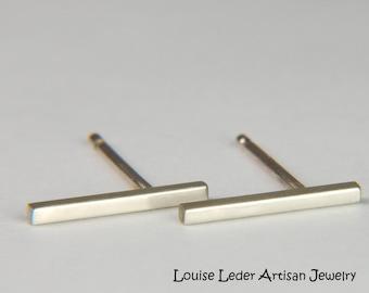 86aedcb3f White Gold Bar Earrings 14K Minimal Earrings White Gold Studs 14K Solid  Gold Stud Earrings