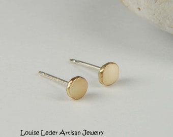 Gold Stud Earrings 14K Gold Studs Simple Earrings Gold Rustic Earrings Everyday Gold Studs