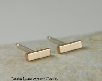 Gold Bar Earrings Handmade Minimalist Earrings 14K Gold Studs Simple Earrings Gold Jewelry Gifts
