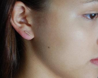 Gold Line Earrings Gold T Bar Earrings Gold Studs 14K Gold Earrings Simple Minimalist Earrings