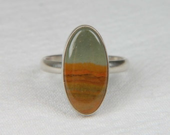 Picture Jasper Ring Silver Natural Stone Ring Handmade Artisan Ring Oval Ring Artisan Jewelry Picture Jasper Jewelry