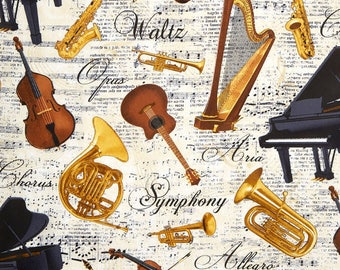 Symphony Fabric, Instrumental Fabric, Music Instruments, Timeless Treasures, Music C 4828, Music Fabric, Instrument Fabric, Pianos, 01175A