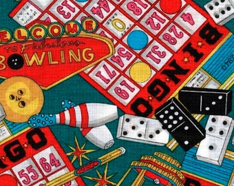 Fun and Games Bingo, Bingo Fabric, Dice Fabric, Bowling Fabric, 01002A