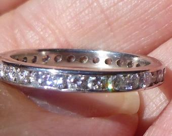 ART DECO  Full Cut Round full cut one  carats of diamonds Platinum eternity band Platinum Channel Setting Eternity  Wedding Ring SIZE 6.25