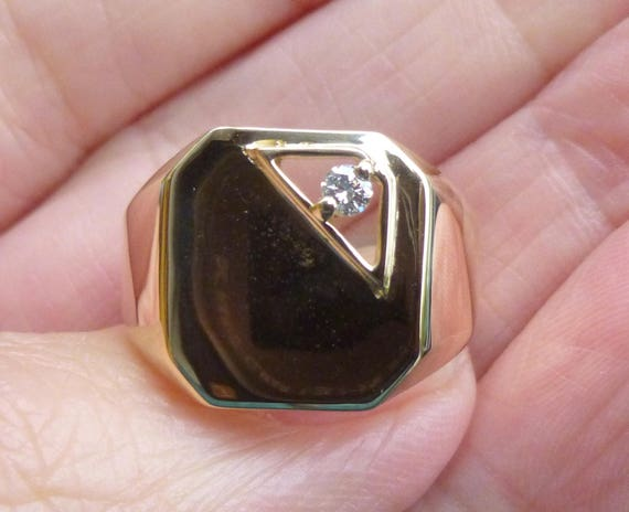 Men's gold signet ring, personalized signet  Class