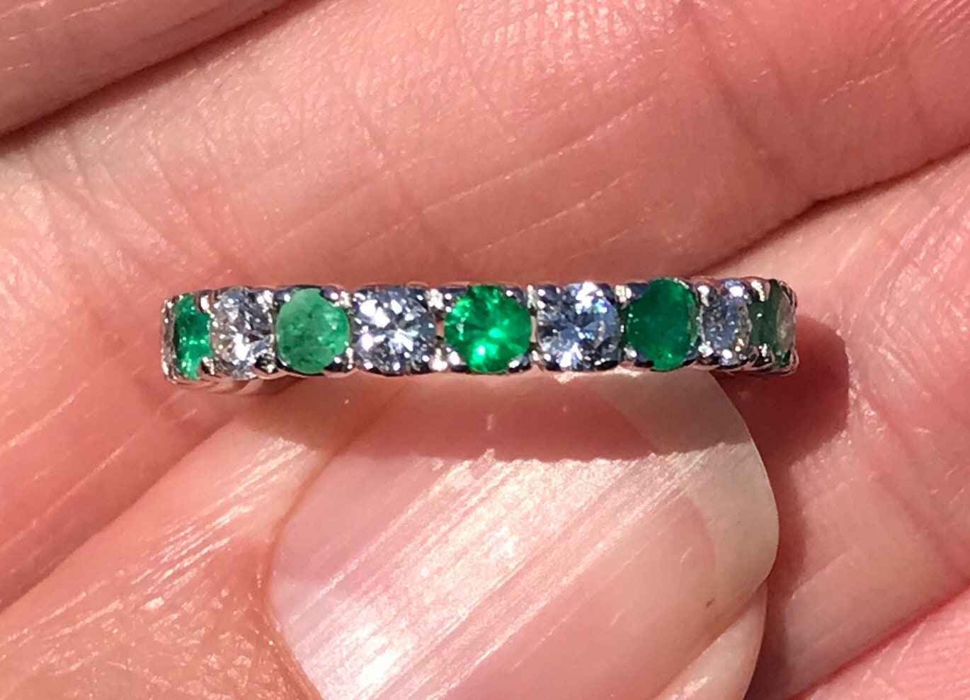 natural Emerald and diamond ETERNITY ring in 18kt white   Etsy