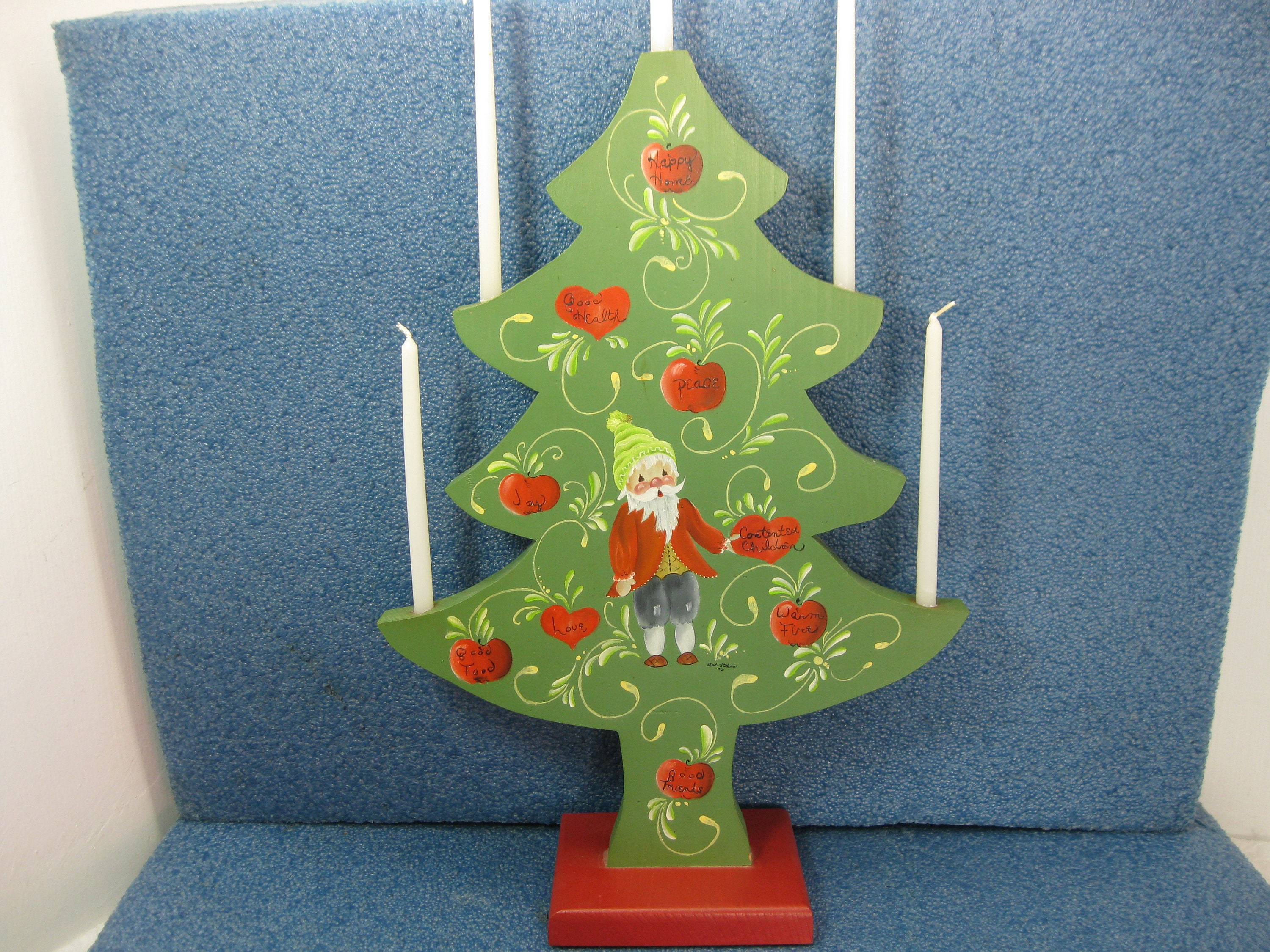 Vintage Tole Painted Wooden Christmas Tree Candle Holder