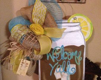 Wooden Sweet Tea/Lemonade door hanger