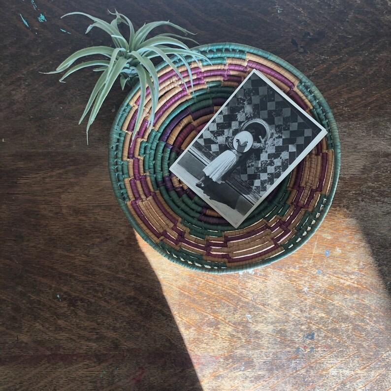 seagrass coil basket boho decor turquoise pink