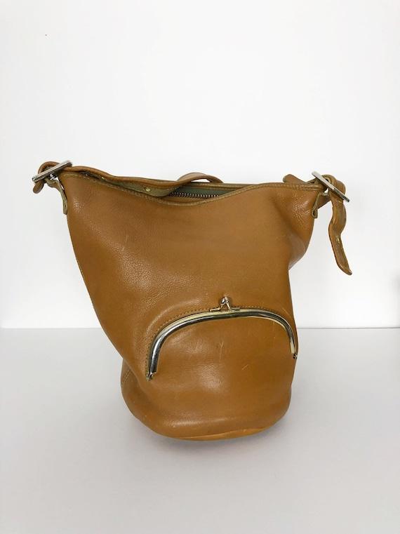 Bonnie Cashin RARE tan bucket bag c1960 Meyers Co… - image 9