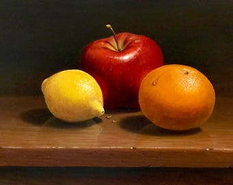 Digital Download only—Still life oil painting with fruit on table