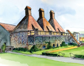 Digital download only-HopKiln Winery, watercolor reproduction.