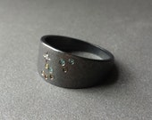 Constellation Ring - Leo - Zodiac Astrology Jewelry - Gypsy Set Ring - Leo Constellation Pave Set Colored Diamonds in Oxidized Silver Ring