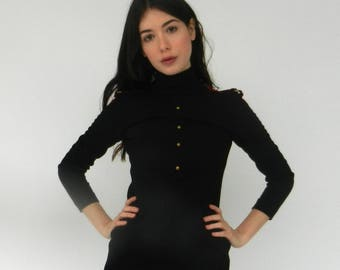 Vintage Black Wool Shift Dress | 1960s | Red Epaulettes