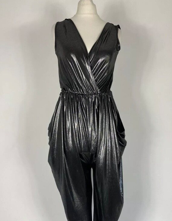 Dancing Queen Vintage 1980's Black Sheen Harem Jum