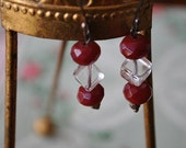 Cherry red and crystal drop earrings. Wire. Vintage.