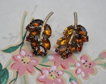Amber Rhinestone Clip Earrings, Leaf Design
