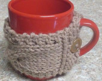 Knitted Coffee mug cozy, coffee sleeve, coffee tea cup cozy