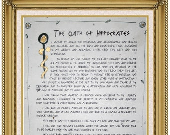 Hippocratic Oath of Hippocrates, Personalized, Handmade Paper, Hippocratic, Physician, Gift for Doctor, MD, Medical Student Graduation, Art