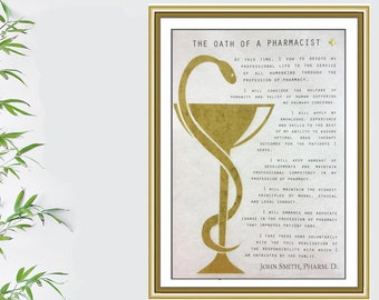 Personalized Oath of a Pharmacist, Gold or Silver, Pharmacist Gift, Pharmacist Print, Pharmacy Student Graduation, Pharmacist Gift