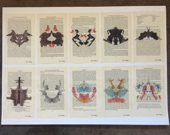 10 Prints ! Doctor Psychology Psychiatry Hermann Rorschach Inkblot Test Freud Gift Mental Health Dictionary Vintage Upcycled Book Wall Art