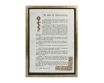 Personalized Hippocratic Oath of Hippocrates Original Canvas Gift for Doctor MD Medical Student Gift Graduation Luxury Wall Art Authentic