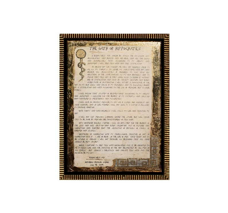 Personalized Hippocratic Oath of Hippocrates Original Canvas image 0