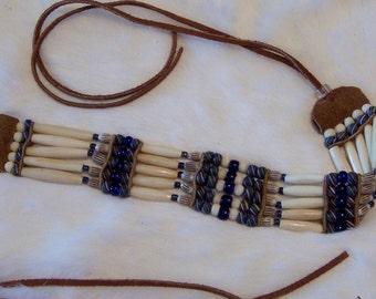 Blue Glass Stripes and Bone Choker Necklace