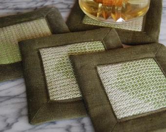 Free Shipping! Handwoven Coasters or Mug Mats- Set of Four (4) Green