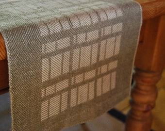 Handwoven Linen 'Stone Wall' Table Runner