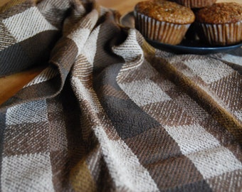Handwoven Tea or Kitchen Towel- Twill Tiles Coffee