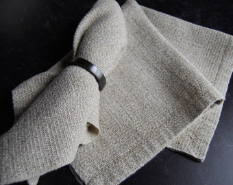 Set of Four Cotton and Linen Napkins Handwoven in Maine