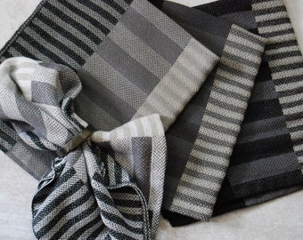 Set of Four Handwoven Napkins- Side By Side Stripes- Grays