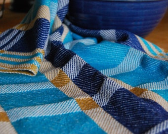 Tea or Kitchen Towel Handwoven Retro Blocks- Blues
