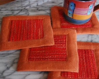 Free Shipping! Handwoven Coasters or Mug Mats- Set of Four (4) Pumpkin