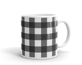 f3eeafed3164 Buffalo Plaid Black and White Gingham Coffee Mug