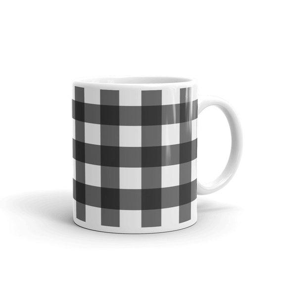 Buffalo Plaid Black And White Gingham Coffee Mug Rustic Etsy