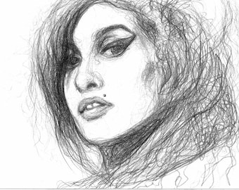 Items Similar To Amy Winehouse Disegno A Mano Ritratto Cantante