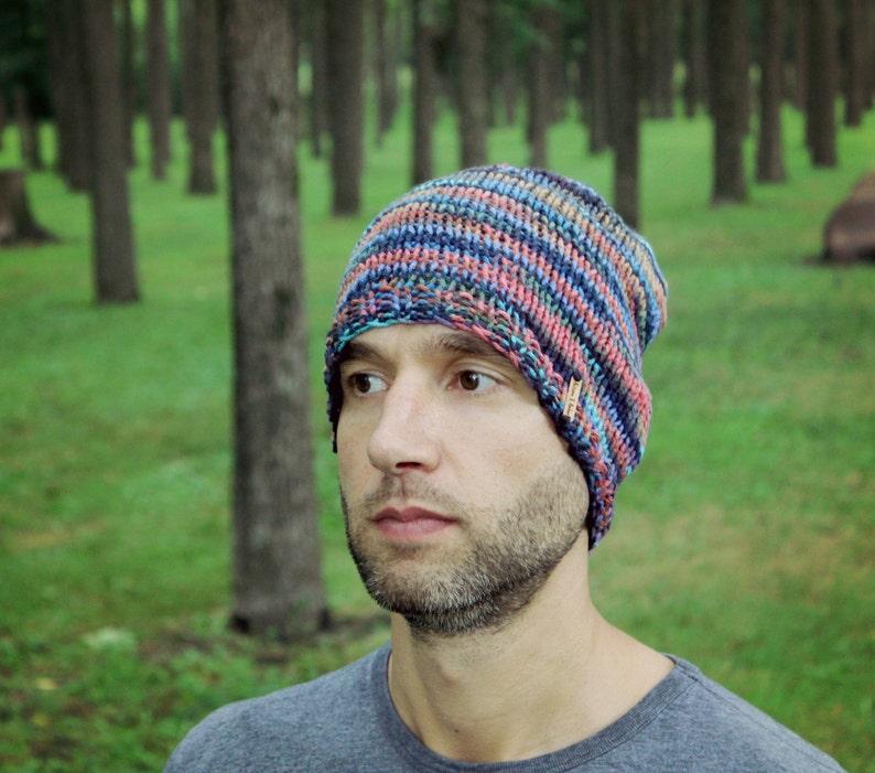 484da238845 Knit Mens Hat Knitted Gray Man Beanie Multicolor Winter Cap