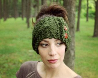 Knit Ear Warmer Cable Knit Headband Womens Earmuffs Button Ear Warmers Ladies Warm Accessories Winter Olive Green Knits Crochet Button Gift