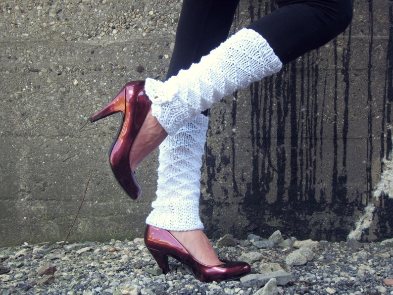 MADE TO ORDER Leg Warmers Knit Leg Warmers White Leg Warmers Teen Leg Warmers Womens Leg Warmers