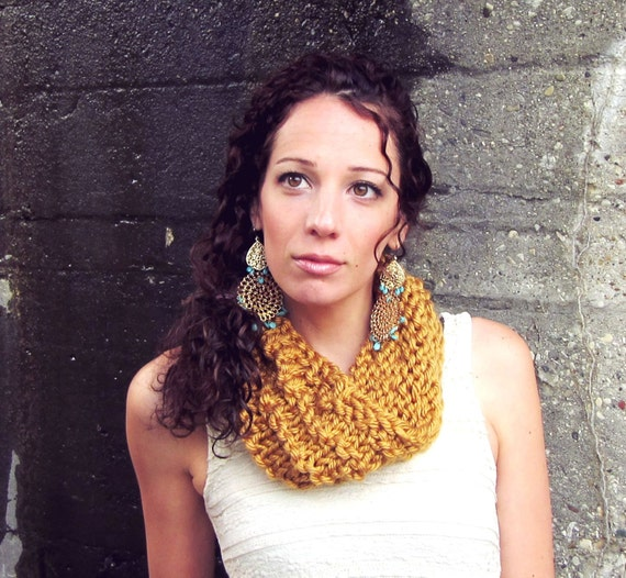 Knit Chunky Cowl Womens Bulky Scarf Mustard Cowls Ladies  9ede6f4c6