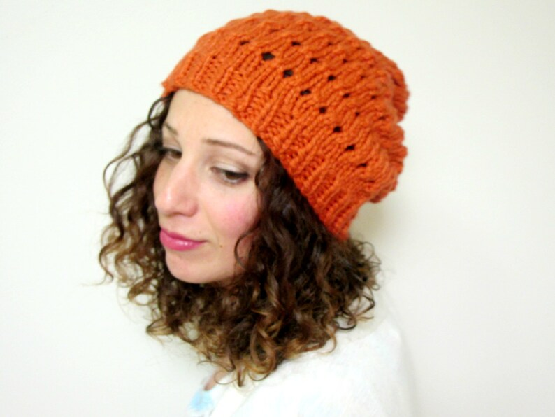 55d2bcec854 Warm Knit Hat Womens Knitted Hats Winter Beanies Orange