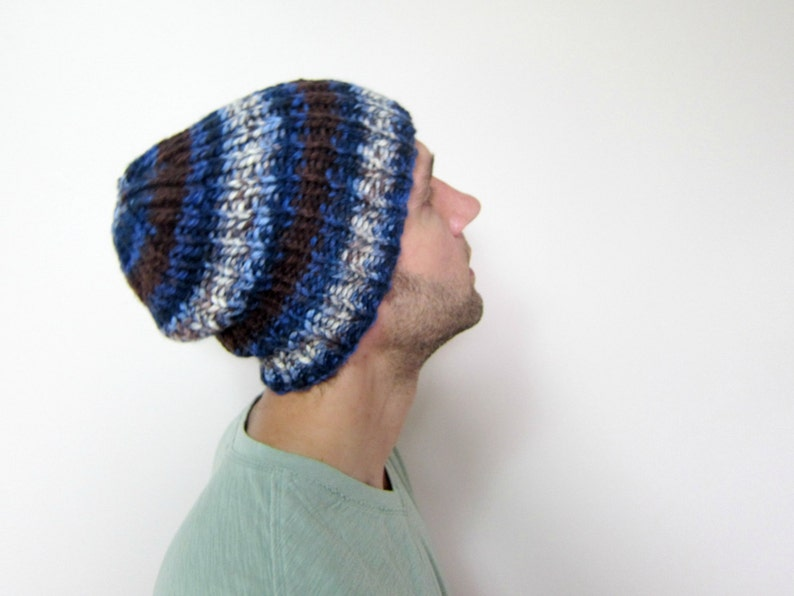99e5cbdfccf Mens Knit Beanie Blue Knitted Slouchy Hat Guys Oversized Hats