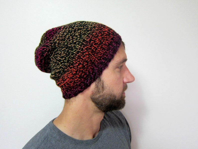 ad11bc2b00d Mens Knit Hat Slouchy Beanie Guys Knitted Hats for Men Gift