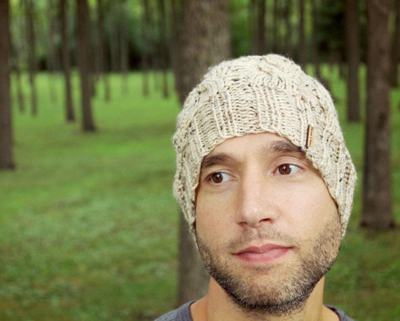 14040059eb3 Knit Mens Hat Knitted Beige Man Beanie Unisex Tan Winter Cap