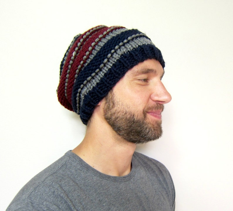 1a8ec10d5ce Warm Mens Hat Winter Knit Hats Striped Slouchy Beanie Crochet