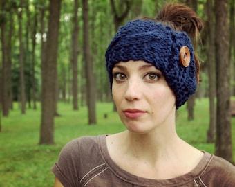 Knit Ear Warmer Cable Knit Headband Womens Earmuffs Button Ear Warmers Ladies Warm Accessories Winter Dark Blue Knits Crochet Button Gift